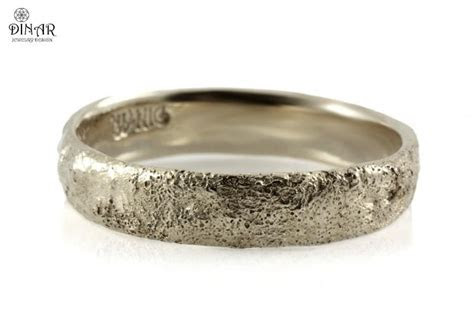 Sterling Silver, Hammered Wedding Band, Tree Bark Texture