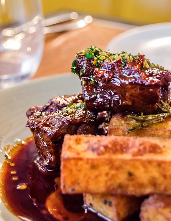 Braised Lamb neck with Gremolada sauce and Polenta fries @ Bread Street Kitchen - London