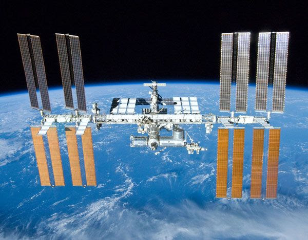 The International Space Station as seen by the STS-132 space shuttle crew on May 23, 2010.