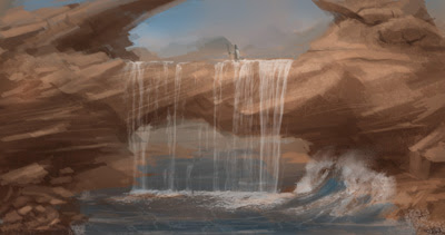 sketch, waterfall, speedpainting, environmental, painting, photoshop, art, concept, design, drawing, how to, tutorial