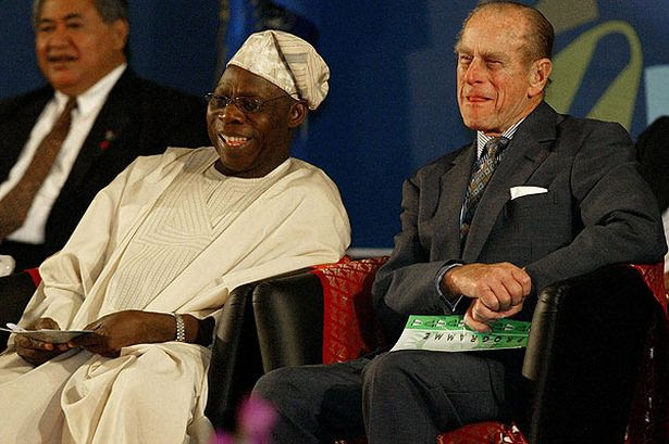 Prince Phillip - Duke of Edinburgh with the Nigeria's President Olusegun Obasanjo (Pic: PA)