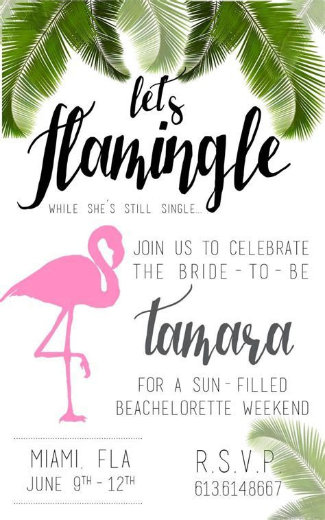 Let's flamingle! Flamingo theme bachelorette invitations