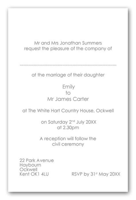 Wedding Invitation Wording, Ceremony and Venu in same