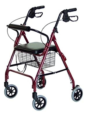 4 Wheel Rolling Walker With Shopping Basket Padded Seat