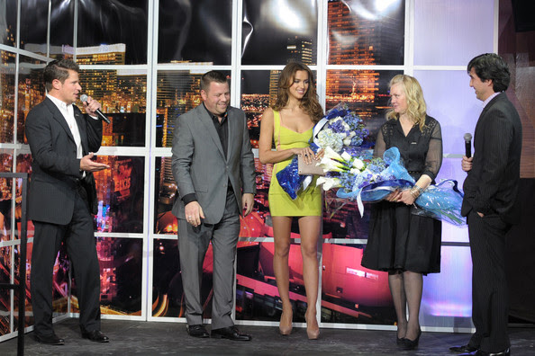 Nick Lachey Nick Lachey, Sports Illustrated creative director Christopher Herick, Sports Illustrated swimsuit model Irina Shayk, Sports Illustrated editor Diane Smith and Sports Illustrated assistant managing editor Christian Stone onstage at Club SI Swimsuit hosted by Vanity at Vanity Nightclub at The Hard Rock Hotel and Casino on February 17, 2011 in Las Vegas, Nevada.