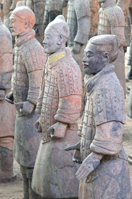Traces of Han purple can still be seen on many of the terracotta warriors