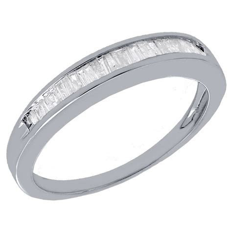 Real Diamond Baguette Wedding Band Ring in 925 Sterling