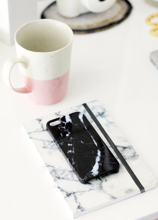 Le Fashion Blog Stylish Whimsical Work Space Urban Outfitters Black Marble Phone Case White Marbled Notebook Pink Ceramic Mug