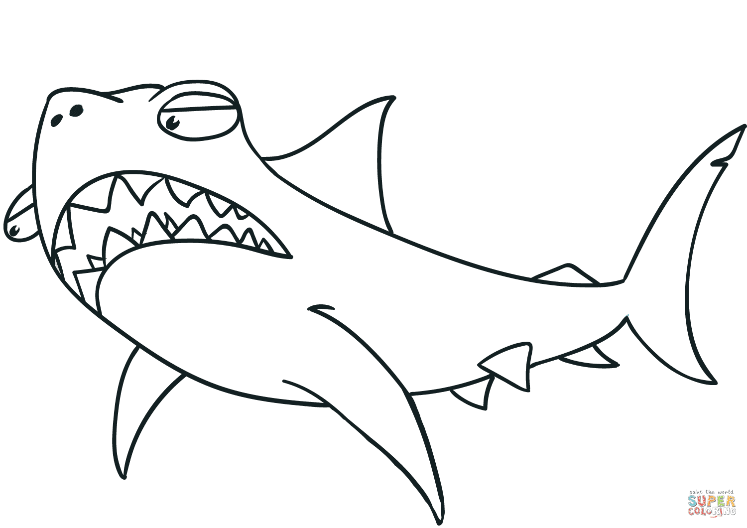 Cartoon Shark coloring page | Free Printable Coloring Pages