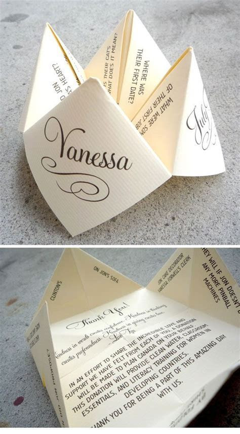 Fortune Teller thank you notes/invites. Love this idea