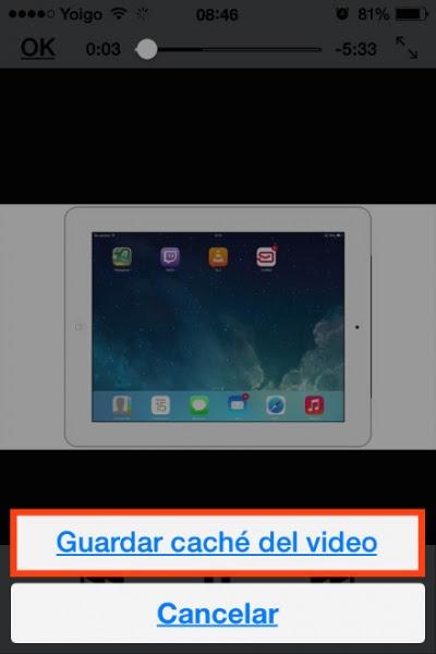 guardar cache video