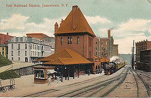 Postcard: Erie Railroad Station, Jamestown, Ne...