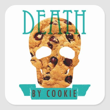 Death by cookie square sticker