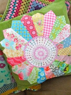 Dresden cushion with doily centre by clothwork, via Flickr
