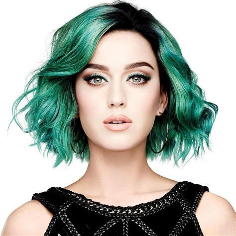 Katy Perry?s Luminous Jade Green Bob with Exposed Black Roots   Green Hairstyles   Pinterest