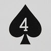 Round Playing Card 4 of Spades