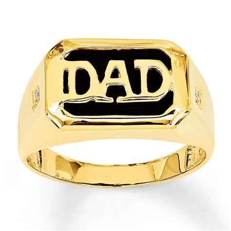 Men's Dad Ring Onyx with Diamonds 14K Yellow Gold