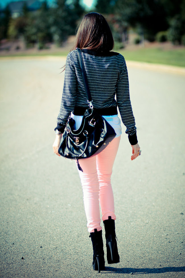 Striped Sweater, Hot Pink Neon Skinny Jeans, Black Ankle boots, Paddington Chloe bag