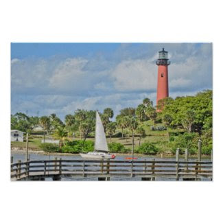 Jupiter Lighthouse and Sailboat Poster