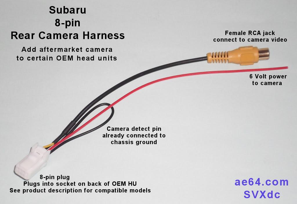 Subaru 8 Pin Rear Camera Harness