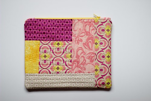 Quilted Pink Zipper Pouch by Jeni Baker