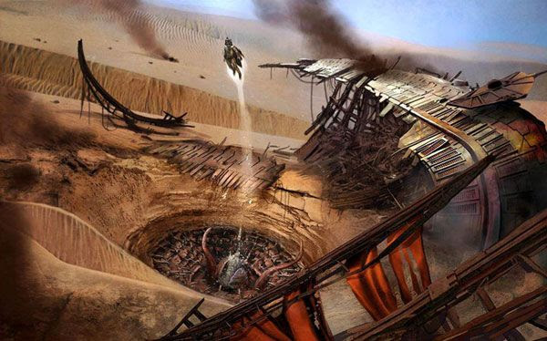 An illustration depicting Boba Fett escaping from the Sarlacc Pitt following the events of RETURN OF THE JEDI.