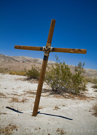 Wooden cross along a trail in the Colorado (Sonoran) Desert in Riverside County, California, USA