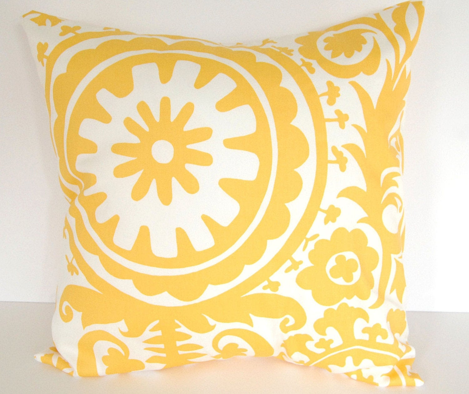 Throw pillows yellow set of two 22 x 22 yellow by ThePillowPeople