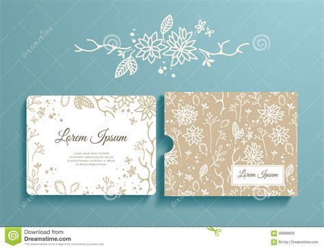 Floral Set Of Romantic Invitation And Envelope Stock