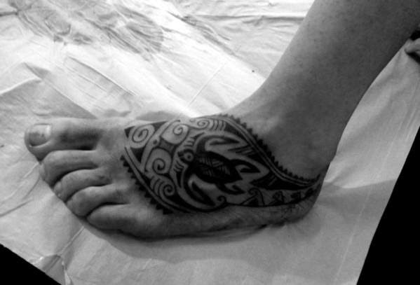 40 Tribal Foot Tattoos For Men Manly Design Ideas
