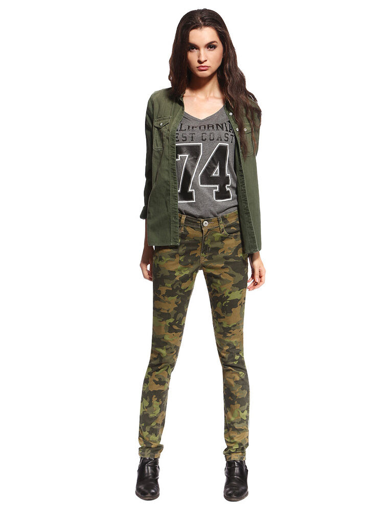 womens skinny camo jeans military ware colored camouflage