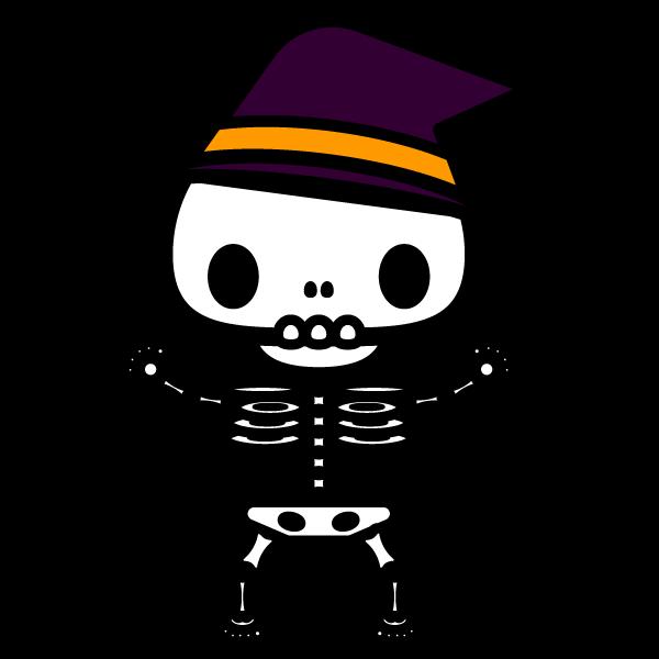 かわいいハロウィンの骸骨の無料イラスト商用フリー オイデ43