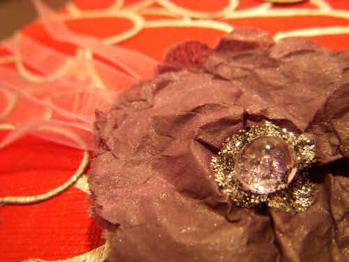 purple tissue flower close