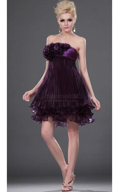Grape Strapless Short Satin Chiffon Bridesmaid Dress BD