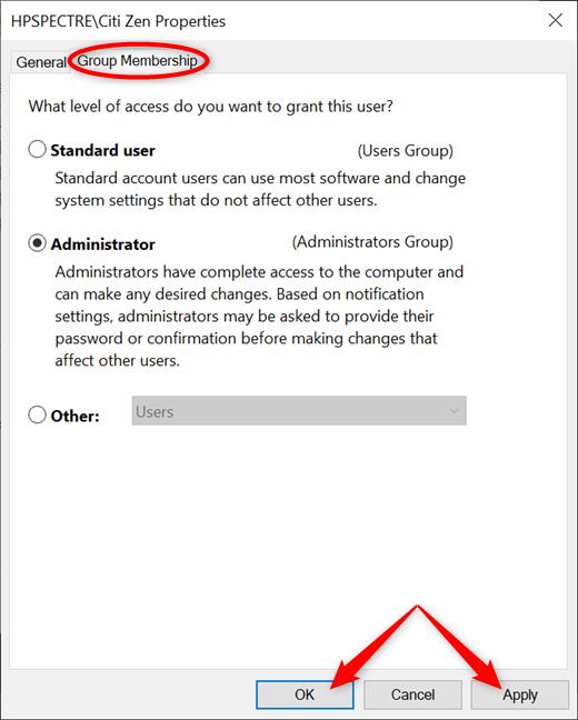 Elija entre usuario estándar y administrador y aplique sus cambios