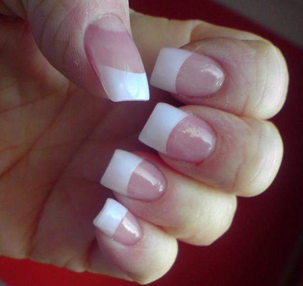 White Tip Nails With Flower – Papillon Day Spa