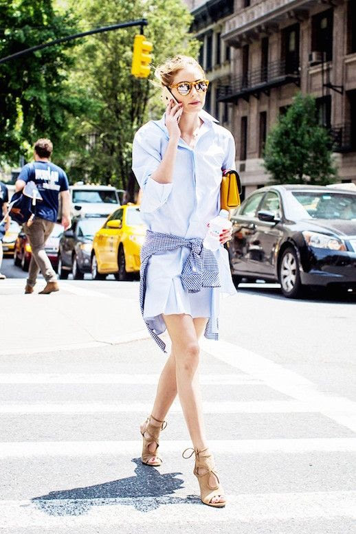 Le Fashion Blog Olivia Palermo Shirtdress Tie Waist Summer Style Via My Domaine