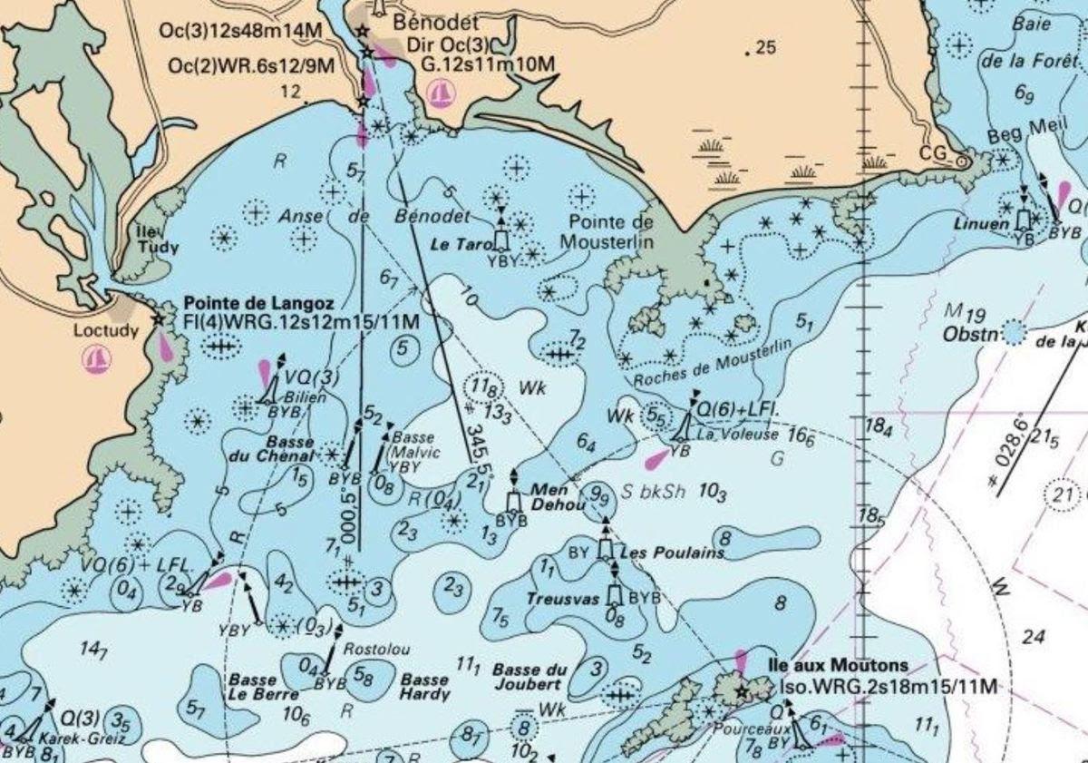 Comprendre une carte marine - les sondes, couleurs et fonds.