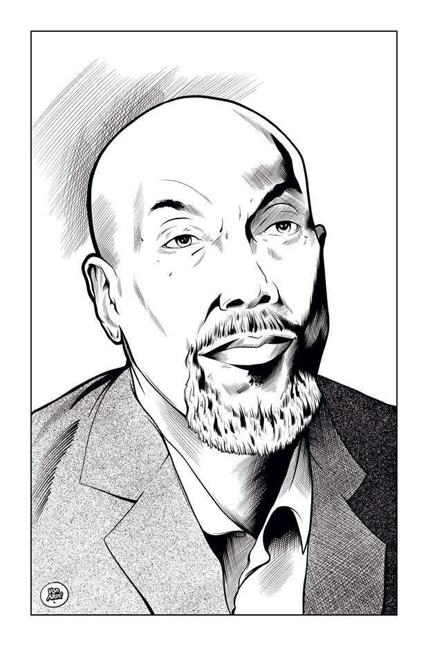 Inked portrait of Ajamu Baraka by Von Allan