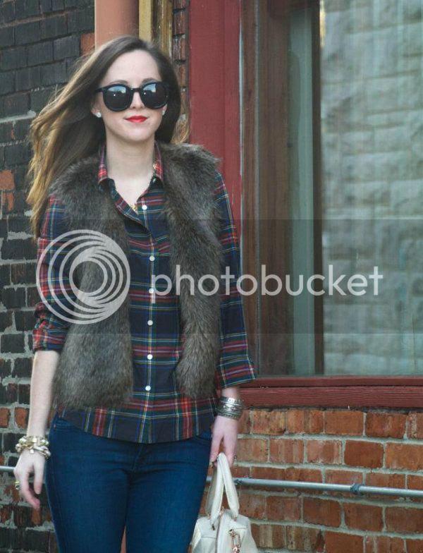 Fur Vest + Plaid // SideSmile Style