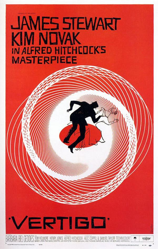 """Cartel para la película """"Vértigo"""" de A. Hitchcock. Diseño de Saul Bass"""