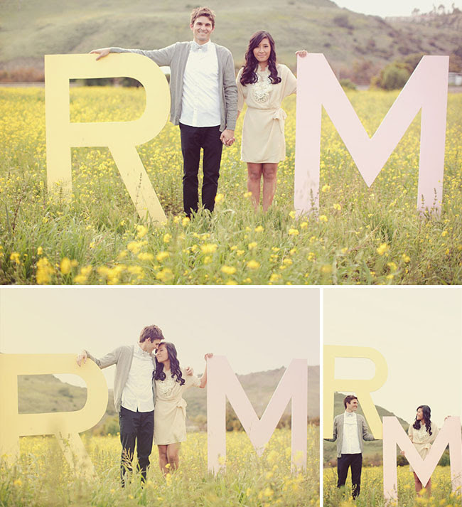 engagement photos with giant letters