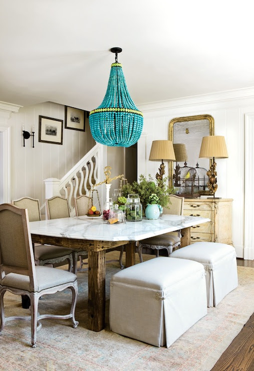 contemporary french dining room design with turquoise empire chandelier, ...