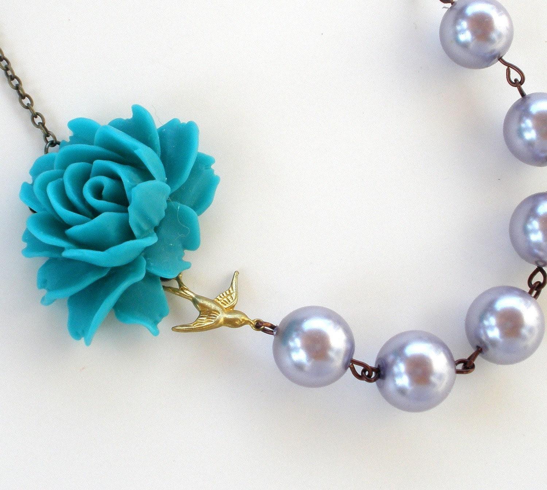 Pearl Sparrow Flower Cabochon Necklace - Teal, Grey, Silver, Bird