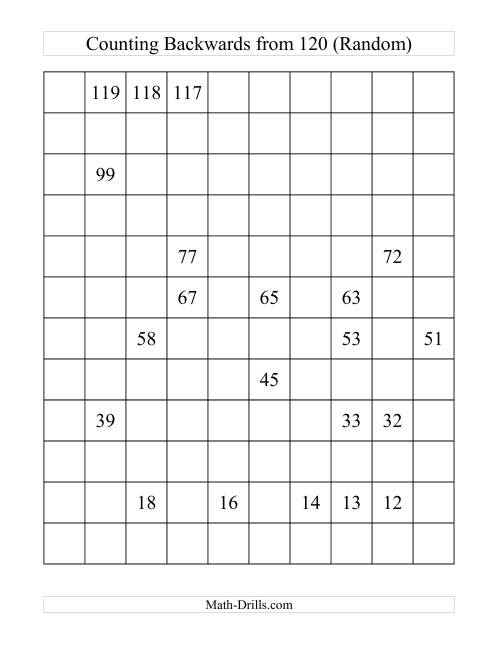 Backwards 120 Chart Partially Filled (A) Number Sense Worksheet