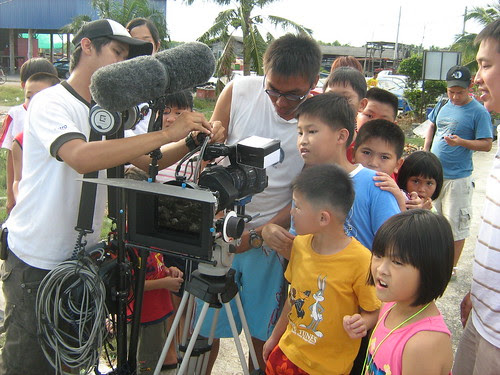 The kids checking the scenes we shot