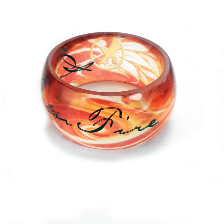Girl on Fire, XL SUPER CHUNKY Hunger Games Inspired, Resin Graphic Bangle.