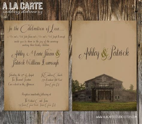 Rustic Barn Wedding Invitation Suite   Invitation and RSVP