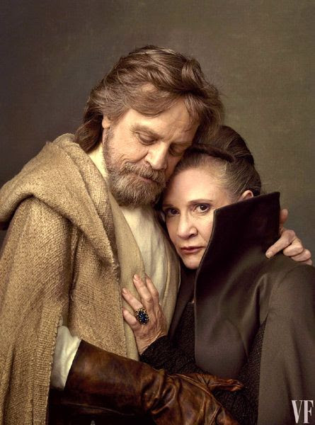 Mark Hamill (who'll finally get to speak as Luke Skywalker in STAR WARS: THE LAST JEDI) poses with longtime co-star Carrie Fisher.