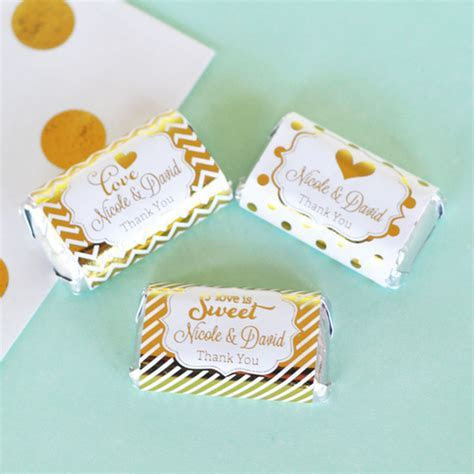 Personalized Metallic Foil Mini Candy Bar Wrappers